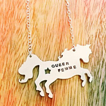 Queer Femme Unicorn Pendant Hand Stamped Necklace