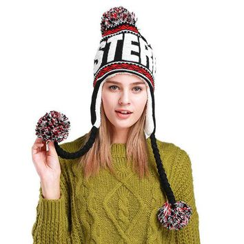 LMF9GW New Fashion casual Designer knitting Beanies Winter Hat with Ears Warm Beanie Girl Hats with wool hang the ball cap Mongolia