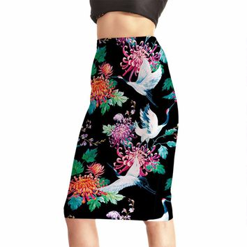 Summer New Design Women Sexy High Waist Midi Skirts Tennis Bowling Skirts Slim Elastic 3D Birsds Female Party Apparel S to 4XL