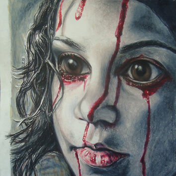 Let the Right On In - Original Pencil drawing - Hand made drawing - Wall decor - Vampire artwork - Horror movie art - Eli - Art - Hand made