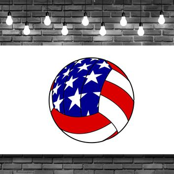 Red White Blue Volleyball Wall Art Decal Sticker