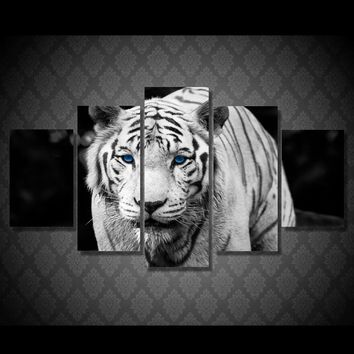 White Tiger 5 piece wall art print on canvas