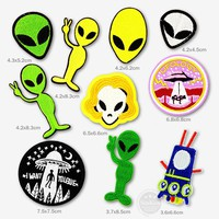 Alien UFO Patch Badge Patches Embroidered Applique Sewing Iron On Patch Clothes Garment Apparel Accessories