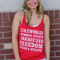 """Fireworks Count Me In"" Tank - Red"