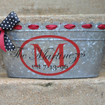 Beverage Tub/ Drink Tub/ Personalized/ Beverage Bucket/ Assorted Colors/ Family/ Name/ Galvanized Metal