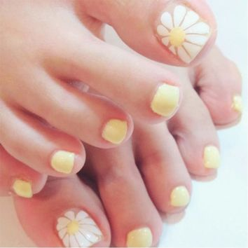 24pcs/Set Summer Flower Pattern Toes False Nails Pre Design Silver Glitter Foot Artificial Full Nail Art Tips Fake Nails