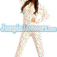 Frosty Dot Hoodie - Hooded Footed Pajamas - Pajamas Footie PJs Onesuit One Piece Adult Pajamas - JumpinJammerz.com