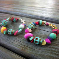 Day of the Dead Bracelet Mixed Gemstone Bracelet Turquoise Skull Bracelet Howlite Bracelet Rainbow Bracelet Hippie Gypsy Traditional Jewelry