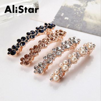 New Fashion Wedding Hair Jewelry Accessories Rhinestone and Pearl Barrettes Sweet Flower Hairgrips pins ornaments#JH061