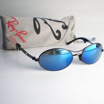 Vintage Ray Ban B&L USA ORBS Sunglasses oval aviator blue mirrored black round
