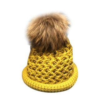 New fashion high quality Fit for 2-9years Winter Warm Baby Knit Wool Crochet Cap Beanie Ball Wool Cuff Baggy Hat