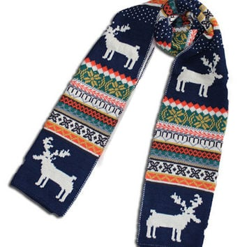 Navy Snowflake and Elk Knitted Scarf