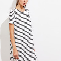 Tassel Trim Dolphin Hem Striped Tee Dress -SheIn(Sheinside)