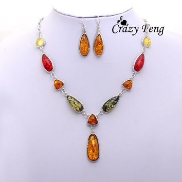 FeelinGirl Women's Vintage Silver Plated Amber African Wedding Jewelry Sets Chain Necklace Earrings sets