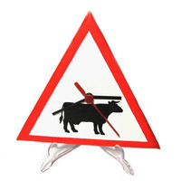 Funky clock Beware of cow road sign modern desk clock funny