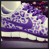 Nike Free Runs, Size 8, Grey/Purple Leopard, Authentic
