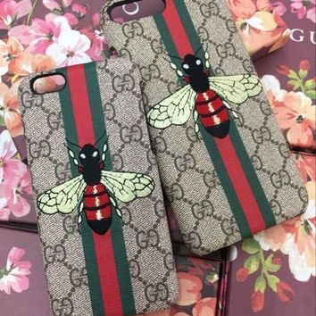 GUCCI Fashion Honeybee Print iPhone Phone Cover Case For iphone 6 6s 6plus 6s-plus 7 7