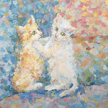 Small Playful Kittens Original Pastel Painting Animal Still Life Child Wall Decor Contemporary Russian Art Personalized gift for Pet Lovers