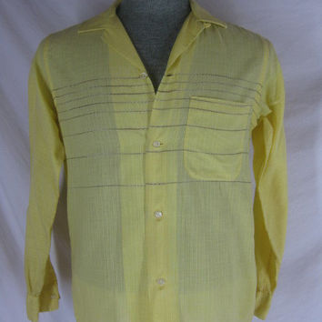 Vintage 40s 50s Van Heusen Mens Yellow NWOTs Long Sleeve Shirt