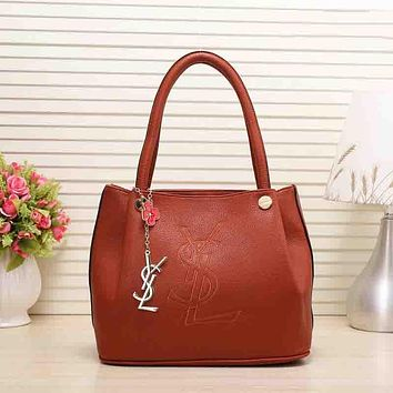 YSL Popular Women Leather Satchel Tote Handbag Shoulder Bag Brown I-MYJSY-BB