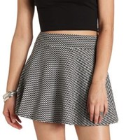 High-Waisted Chevron Skater Skirt by Charlotte Russe - Black/White