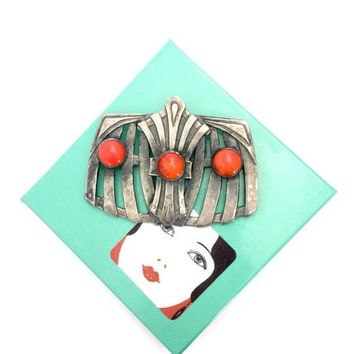 Art Deco Coral Silver Brooch, Coral Glass Cabs, Raised Geometric Design, Antiqued Matte Silver Tone Metal, Vintage Statement Brooch