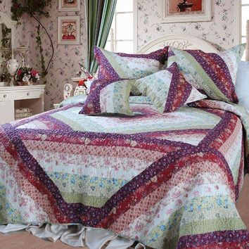 Floral Garden Party Bohemian 100% Cotton Patchwork Reversible Quilted Coverlet Bedspread Set (DXJ100422)