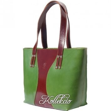 Large Green Italian Genuine Leather Handbag/Shoulder Bag