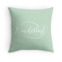 Mint Wanderlust Decorative Pillow Cover, Typography, 16x16, 18x18, 20x20, Couch Pillow
