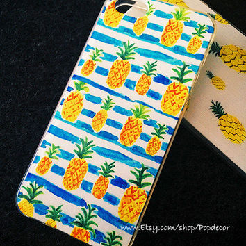 So Many Pineapples with Blue Stripe, Designed SOFT silicon iPhone case, TPU, iPhone 5s Case, iPhone 5 Case, iPhone 4s Case