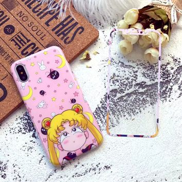For iPhone X Sailor Moon Case + screen protector Cartoon Cute Hello kitty TPU Lover Cover for iPhoneX Tempered Glass Screen film