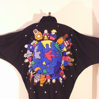 ON SALE Rare 80s Black Bat Wing Silk Applique Jacket It's A Small World