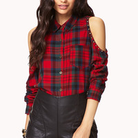 Cool Cutout Plaid Shirt