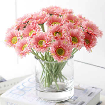 1PC DIY Fresh vivid Artificial Flower Daisy Fake plant decortive flowers for Wedding Home Party Decoration 8 Colors