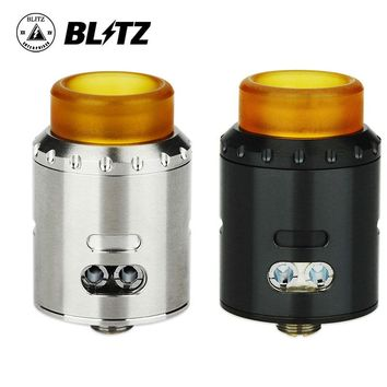Original Blitz Musketeer RDA Tank 24mm Diameter with PEEK Insulator & LP Goon Style ULTEM Drip Tip Leak Proof Ecig Vape Atomizer