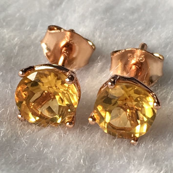 Natural yellow citrine silver earring, round 6mm*6mm, faced stone full cutting fire, beautiful color, ladies jewelry