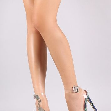 Transparent Pvc Ankle Strap Single Sole Heel Come In Snake Emossed & Unicorn Colors