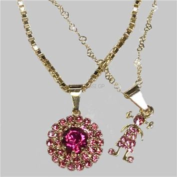 Hot Pink Cz Girl Necklace Set 18kts Of Gold Plated