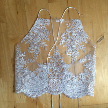 White lace applique crop top mesh seqiun halter neck bra bralette lingerie