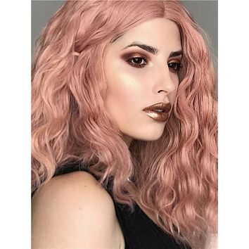 Short Peach Pink Kinky Curly Synthetic Lace Front Wig