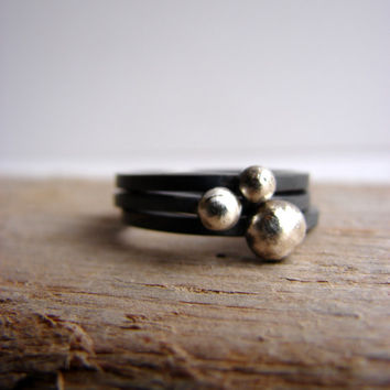 Pebble Ring Oxidized Silver Contemporary Stacking Rings