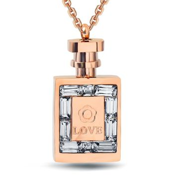 NECKLACE JEWELRY PERFUME Women's Stainless Steel Rose Gold Perfume Bottle Crystal