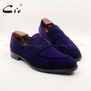 Square Toe 100% Genuine Leather Upper Insole Out sole Custom Handmade Purple Suede Penny Loafer Men's Shoe