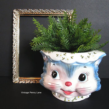 Vintage Miss Priss Kitty Ceramic Planter or Cookie Jar Missing Lid, Anthropomorphized Cat Face, Rare Lefton Pottery