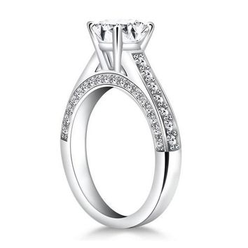 14K White Gold Pave Diamond Cathedral Engagement Ring, size 7