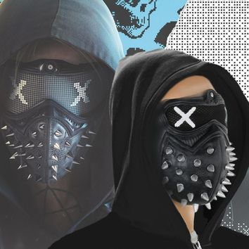 Takerlama Game Watch Dogs 2 WD2 Mask Marcus Holloway Wrench Cosplay Rivet Face Mask Half Face Latex Mask Party Cosplay Props