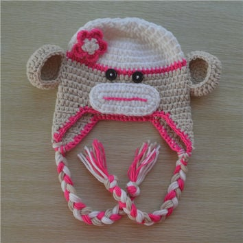 Crochet Hot Pink and Tan Sock Monkey Baby Beanie/ Hat