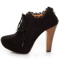 Qupid Puffin 34 Black Suede Lace-Up Ankle Booties - $42.00