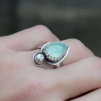 Aqua Chalcedony ring, Sterling silver ring, Artisan ring, Gemstone silver ring, Teardrop ring,Artisan jewelry, Blue gemstone ring, Boho ring