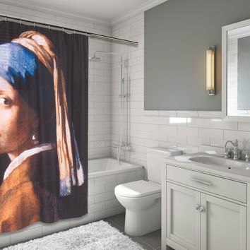 "Royal Bath Coquete Girl with the Pearl Earring Fabric Shower Curtain Size: 70"" x 72"""